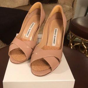 Manila Blahnik nude patent open toe pump